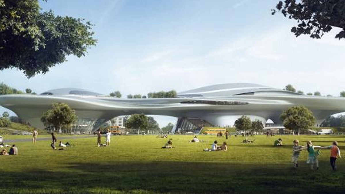 An artist rendering shows Lucas Museum of Narrative Art to be built in Exposition Park in downtown Los Angeles in this image released in California, U.S., January 10, 2017. Courtesy Lucas Museum of Narrative Art/Handout via REUTERS