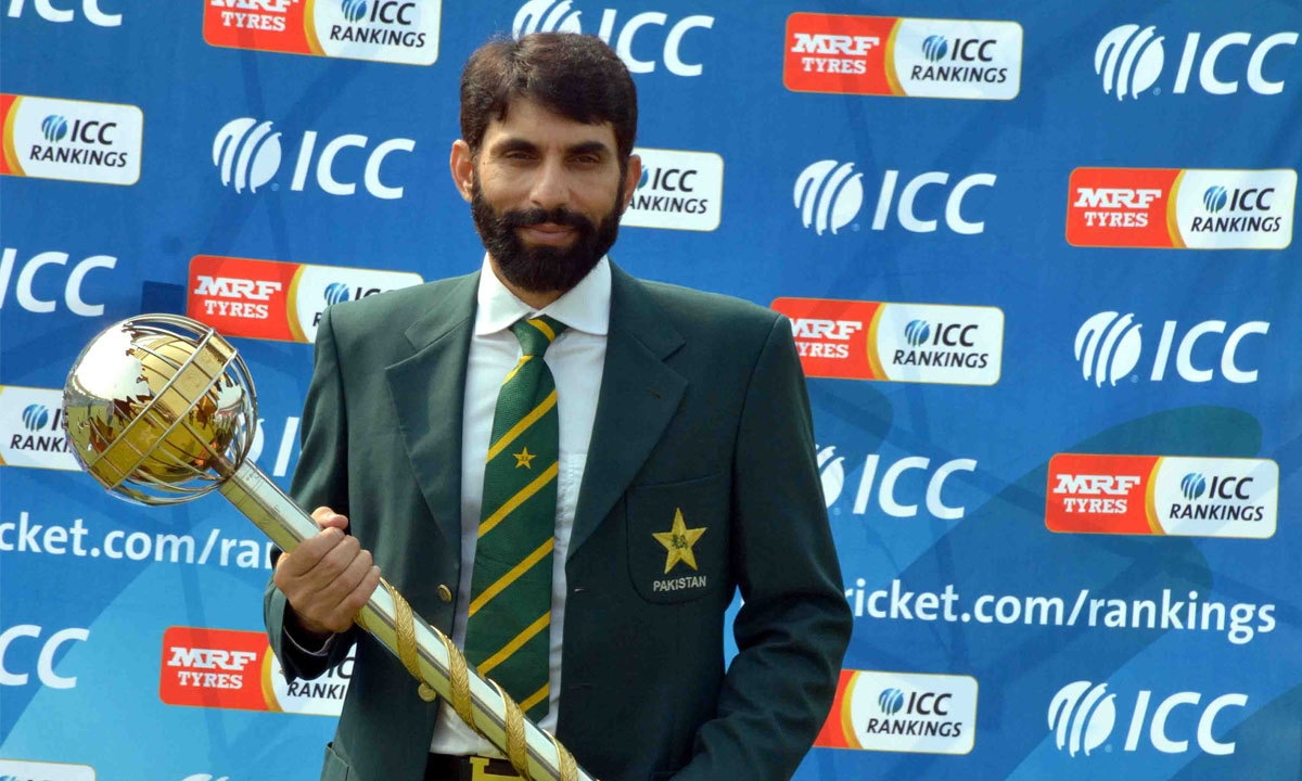 Misbahul Haq posing with the Test Championship mace at Qaddafi Stadium, Lahore | M Arif, White Star