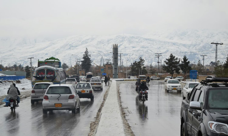 Snow-capped mountains dominate Quetta's skyline.— Photo by Asmatullah Kakar