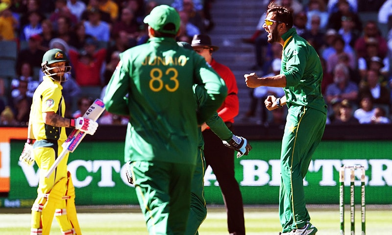 Imad Wasim celebrates after dismissing Australia's Steve Smith as fellow batsman Matthew Wade looks on during their ODI match played at the MCG in Melbourne. — AFP