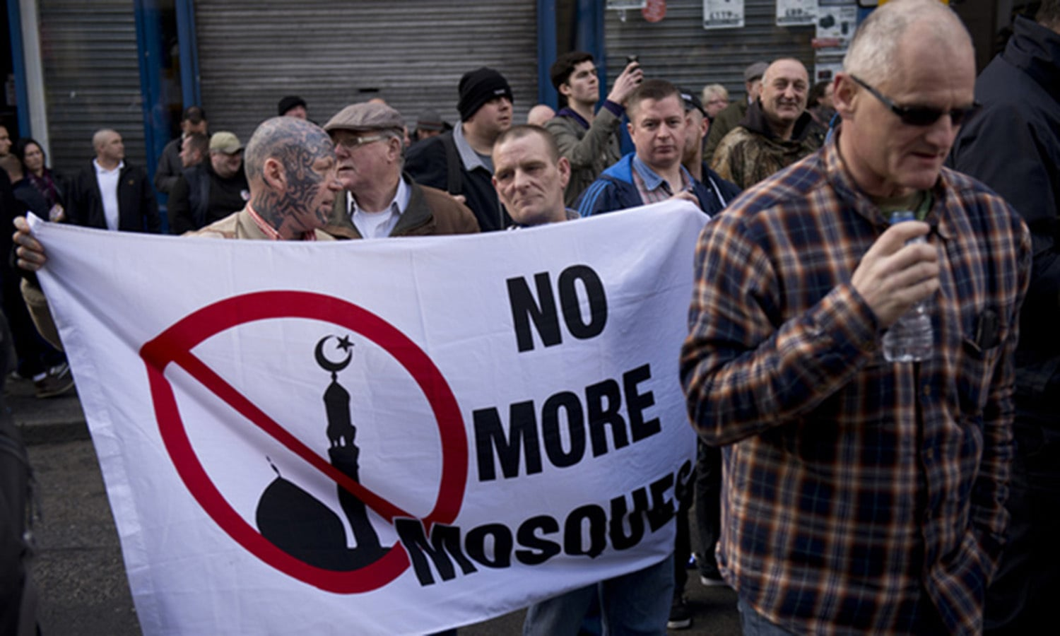 Islamophobia is not just an issue in the US. This 2015 photo shows an anti-Muslim demonstration in Northern England.—AFP