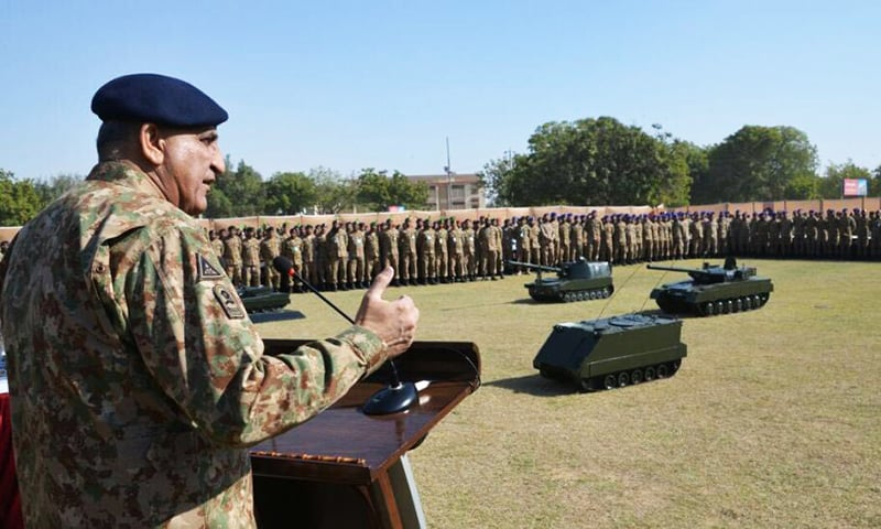 COAS addressing troops and officers. -ISPR
