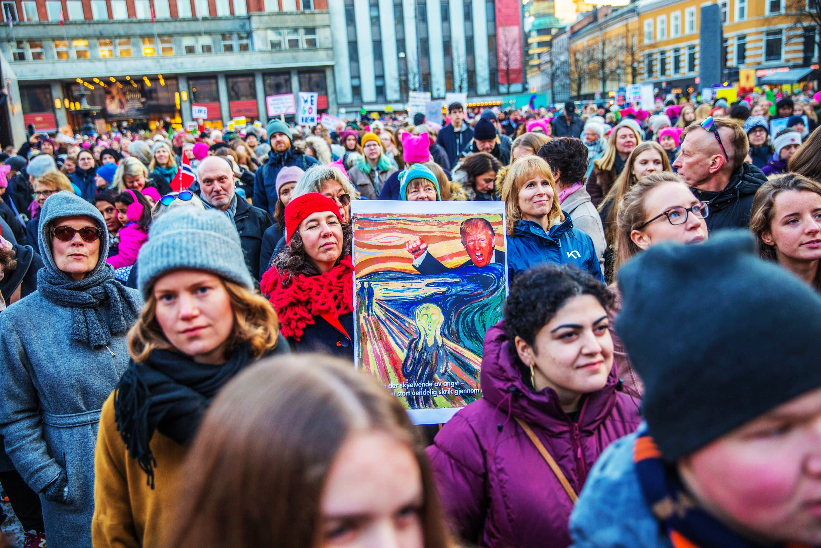 Protesters gather for the Women's March in Oslo, Norway.—Reuters
