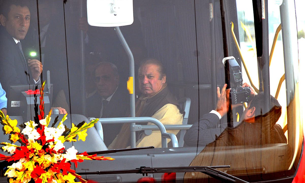 PM Nawaz travelling on Metro Bus after inauguration of the  service. —APP