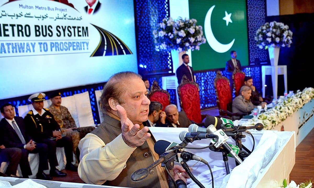 Nawaz Sharif addressing the public gathering after inaugural ceremony of Multan Metro Bus Service. —APP
