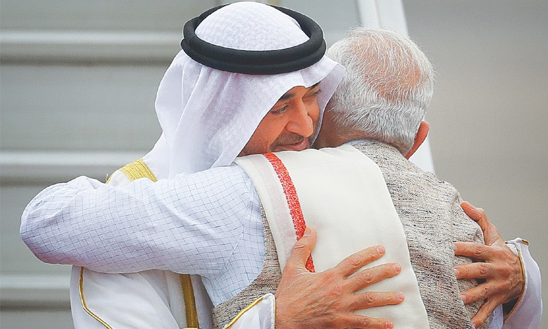 Modi hugs UAE  Crown Prince Mohammed bin Zayed Al Nahyan at the airport.— AP