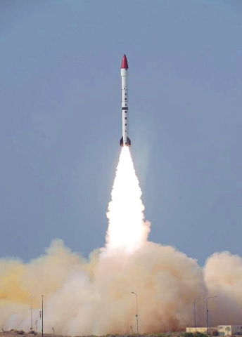 THE surface-to-surface ballistic missile Ababeel, with a maximum range of 2,200km, being tested on Tuesday.—APP