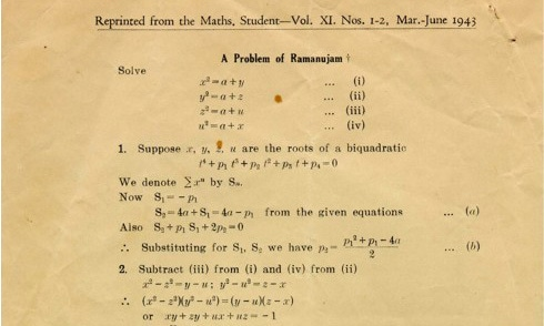 """A Problem of Ramanujan"": Salam's first published paper. —  ICTP Photo Library"