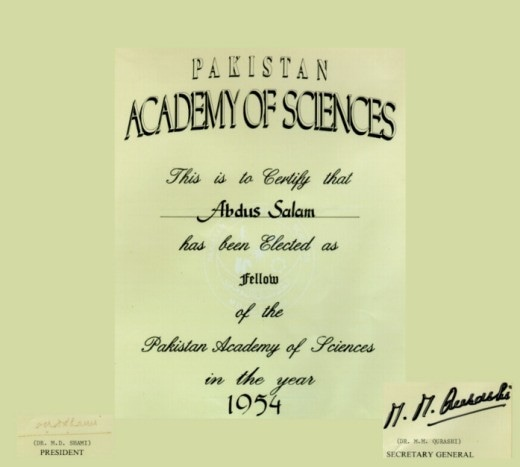Abdus Salam's certificate for induction into the PAS. —  ICTP Photo Library