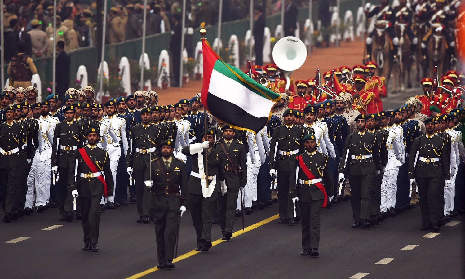 A contingent from the United Arab Emirates marches past in India's Republic Day Parade at Rajpath in New Delhi.— AFP