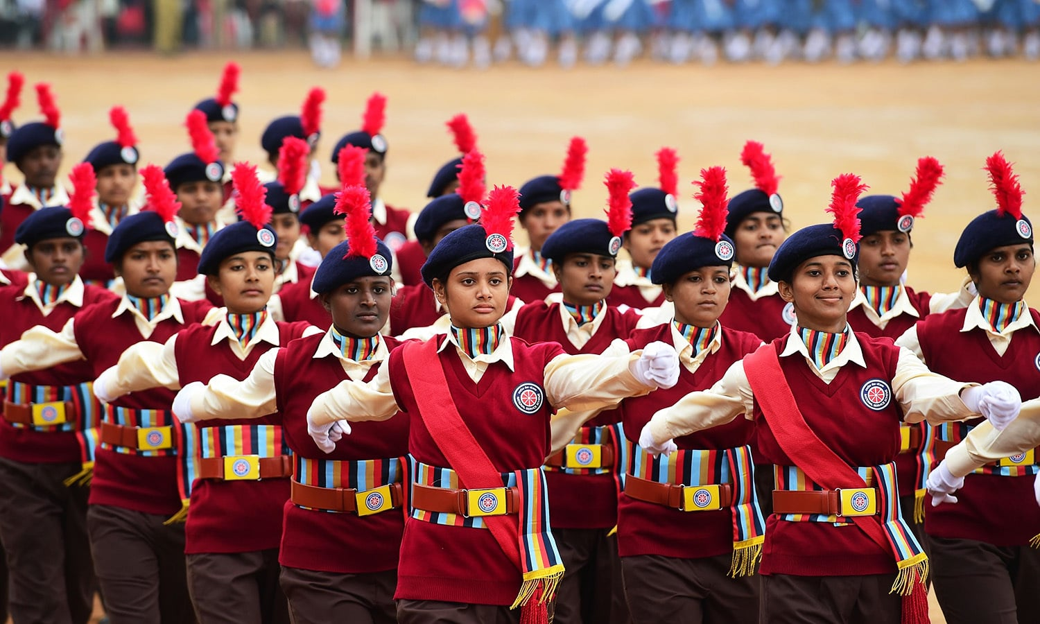 Indian National Service Scheme (NSS) cadets take part in a Republic Day parade in Bangalore.— AFP