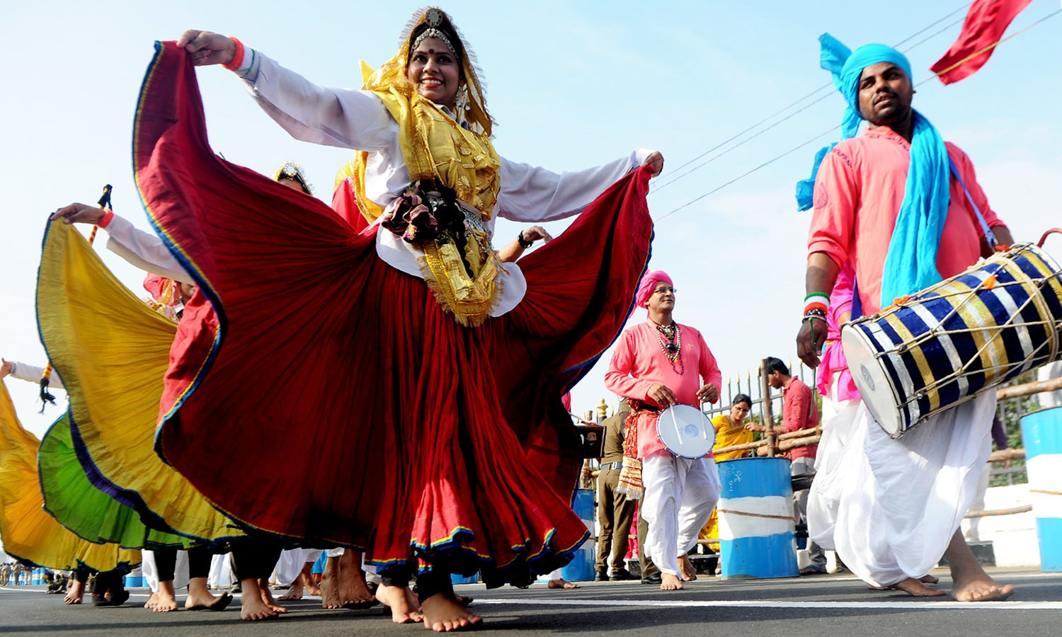 Indian folk artists perform during a parade to mark Republic Day in Chennai.— AFP