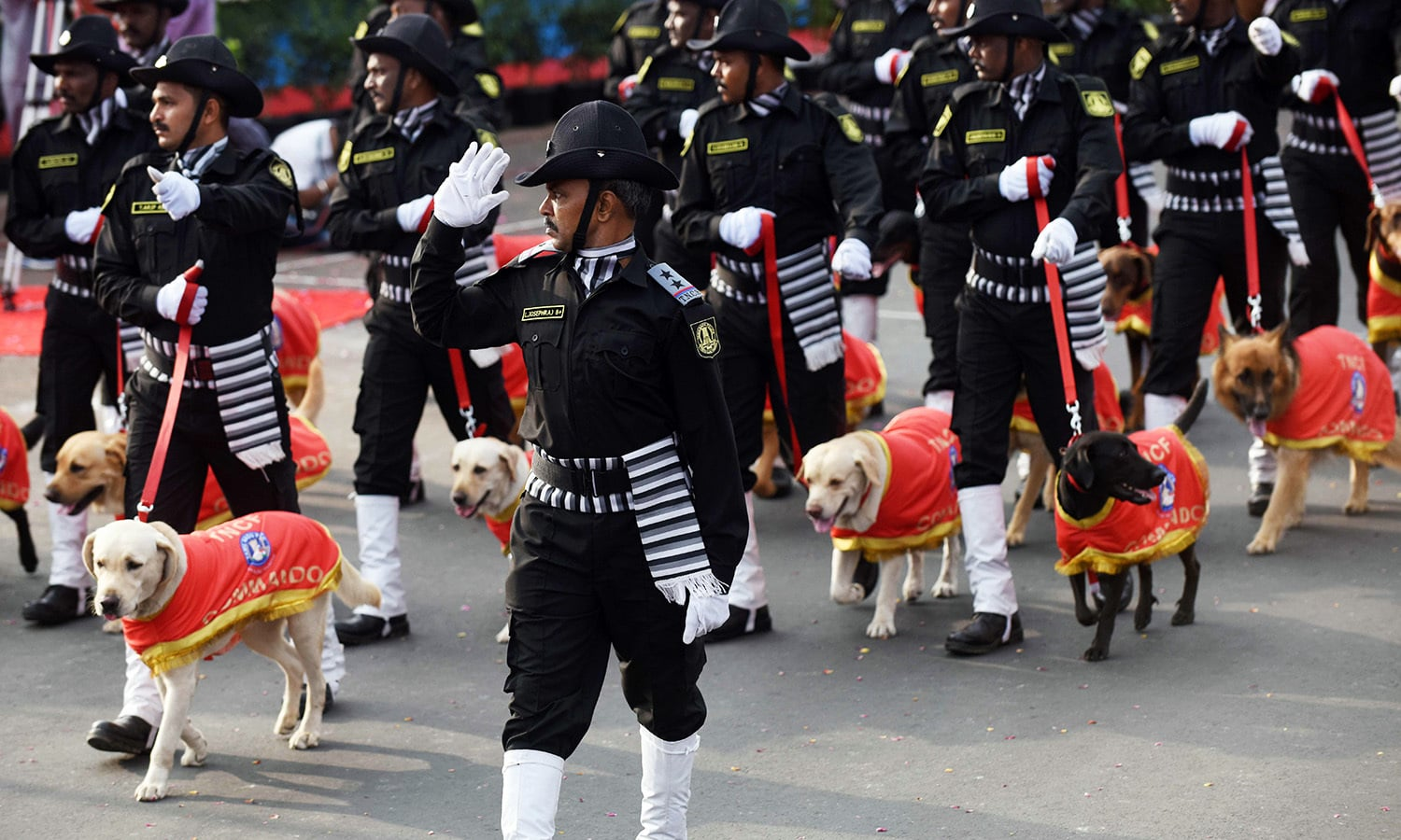 Indian police personnel and police dogs march in a parade to mark Republic Day in Chennai.— AFP