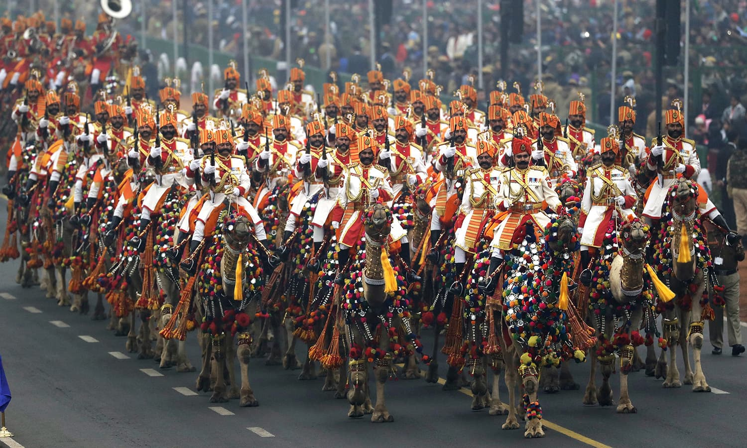Camel regiment of Indian Border security Force participate in Republic Day parade in New Delhi.— AP