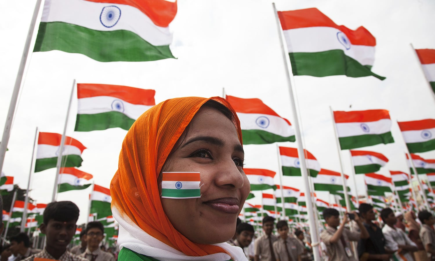 Indian students and members of Global Peace Initiative (GPI) participate in Republic Day celebrations in Hyderabad, India.— AP