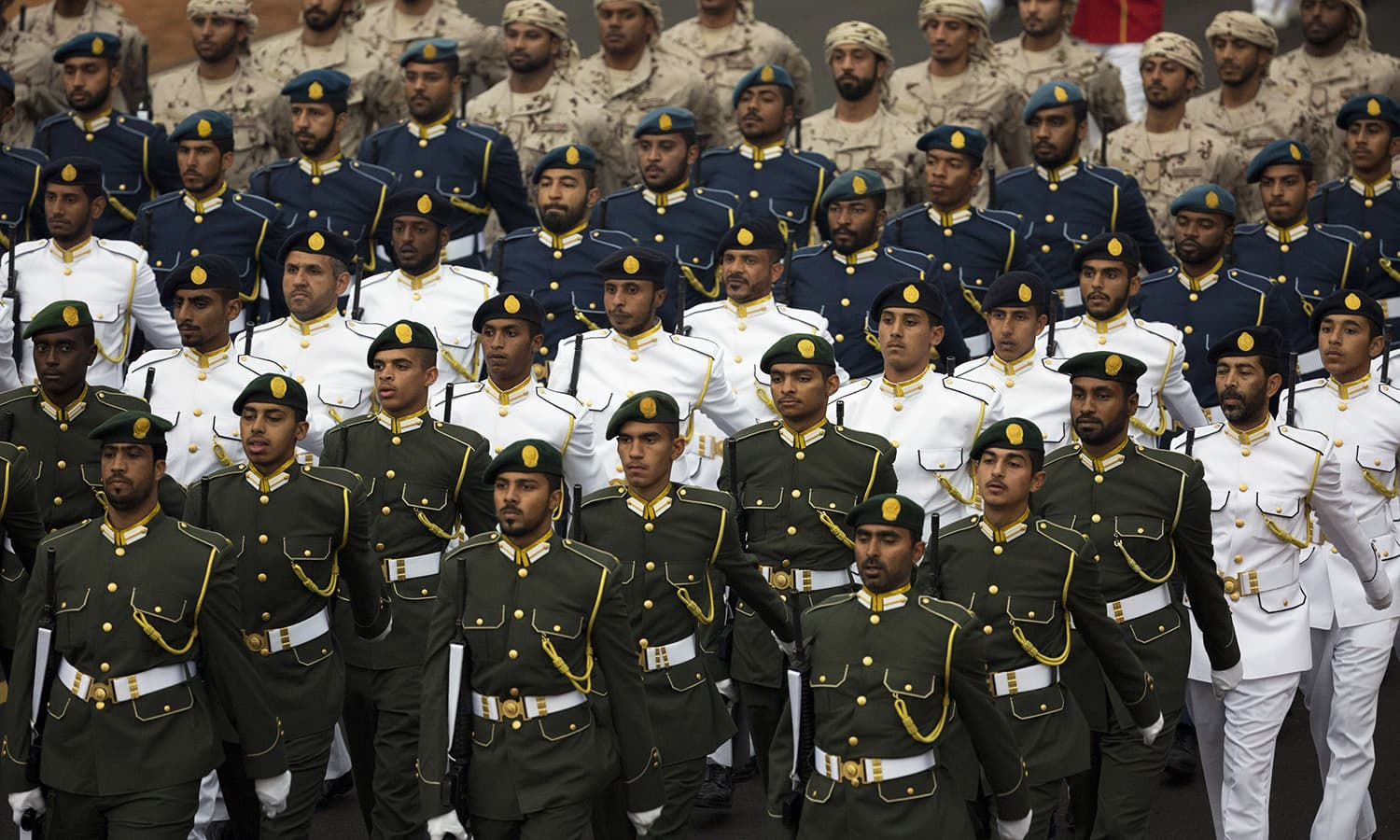 A contingent from UAE marches during Republic Day parade in New Delhi.— AP