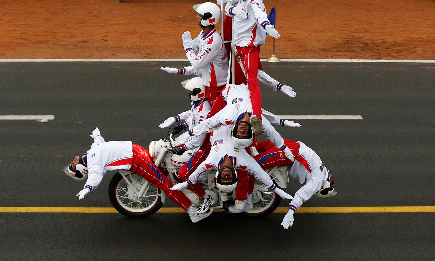 "Indian Border Security Force (BSF) ""Daredevils"" motorcycle riders take part in the Republic Day parade.— Reuters"
