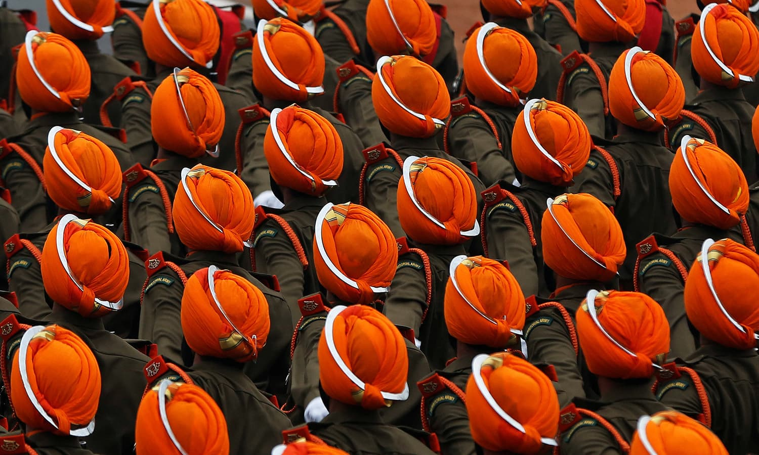Indian soldiers march during the Republic Day parade in New Delhi.— Reuters
