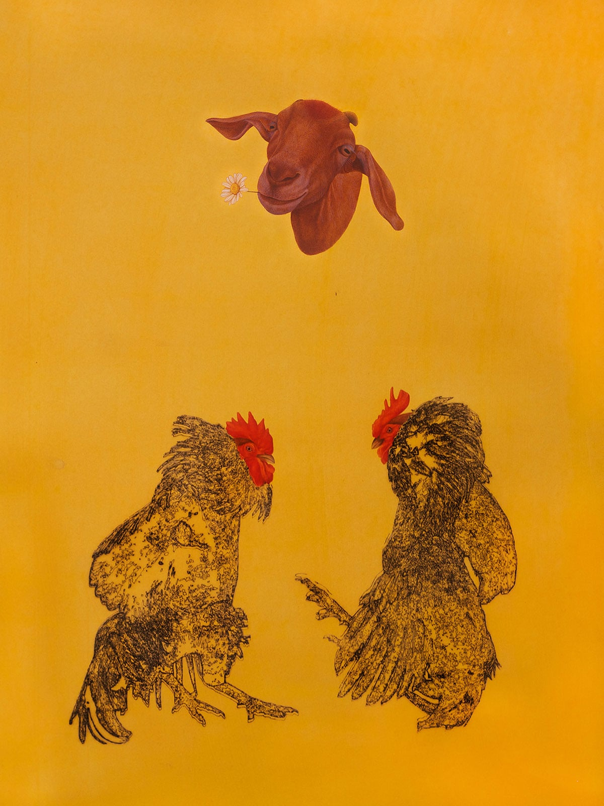 Two Cocks  and a Goat | Muhammad Zeeshan (Laser scoring and gouache on wasli)