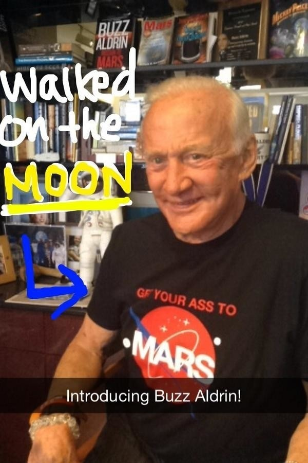 General Electric invited Buzz Aldrin to take over its Snapchat account and talk about his trip to the moon and back.