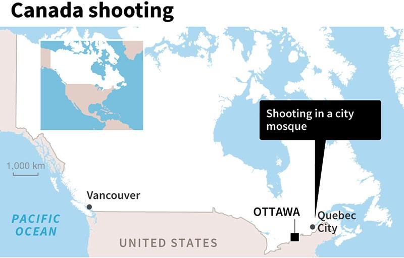 Quebec city on map.— AFP