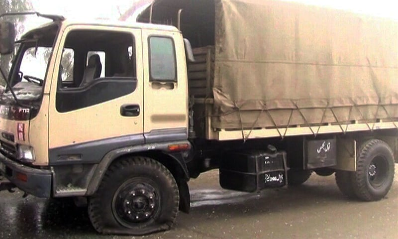The FC truck that was targeted in the blast.— DawnNews