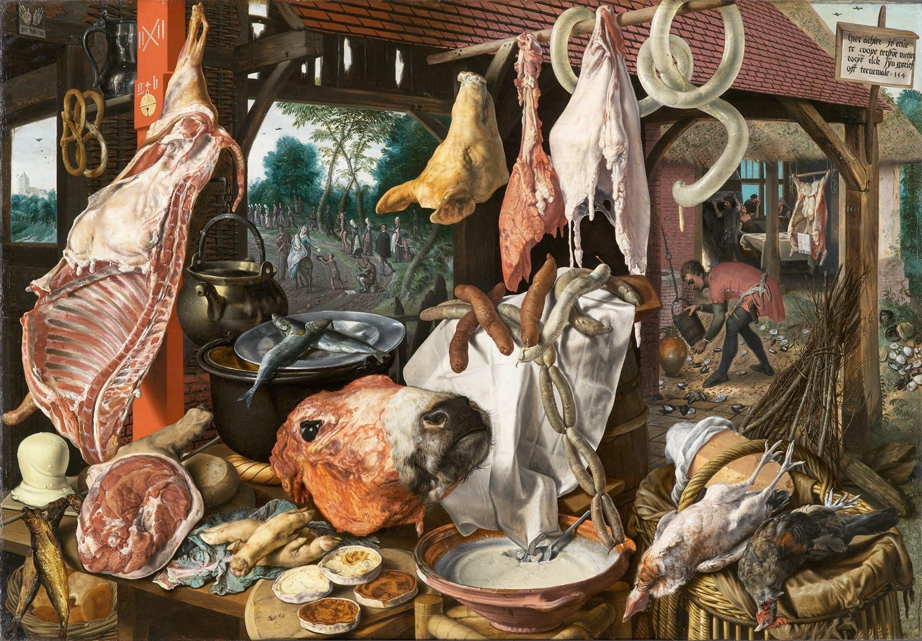گوشت کو مرکزی موضوع بنانے کے حوالے سے بعض 16 ویں صدی کے مذہبی علماء کے مطابق یہ مومن کی موت کی علامت ہے۔— کری ایٹو کامنز