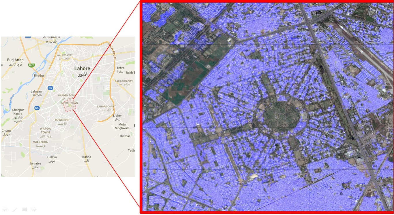 Areas around Model Town in Lahore detected.
