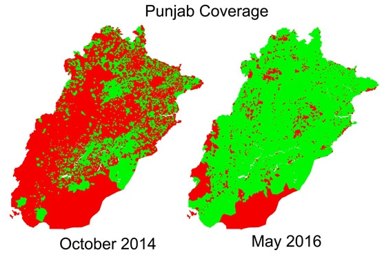 This map depicts Punjab Vaccination Coverage from October 2014 and May 2016. Red Area shows vaccination activity not recorded in the vicinity. Green area shows vaccination activity conducted in that month in the vicinity.