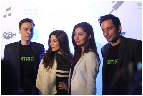 TapMad TV CEO Yassir Pasha with Mahira Khan and Ayesha Omer.