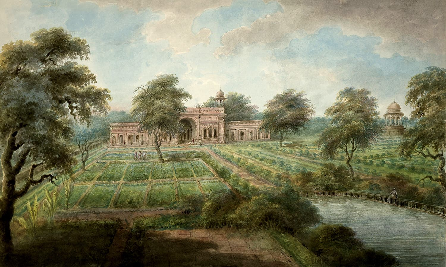 A 17th century painting of the Shalimar Garden.