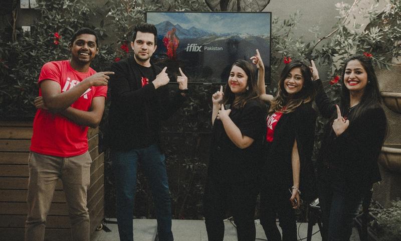 The iflix Pakistan team. (From L to R): Harold John, Farees Shah,  Riffat Rashid, Rija Ali, Aimun Baloch.