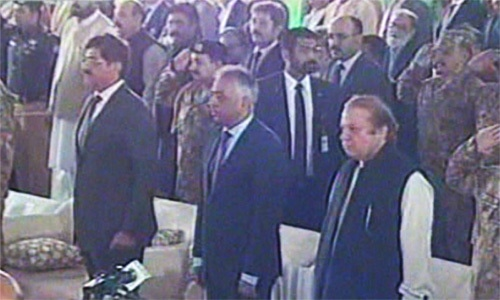 Sindh Chief Minister Murad Shah, Sindh Governor Muhammad Zubair, and Prime Minister Nawaz Sharif at the inauguration ceremony in Karachi. ─ DawnNews