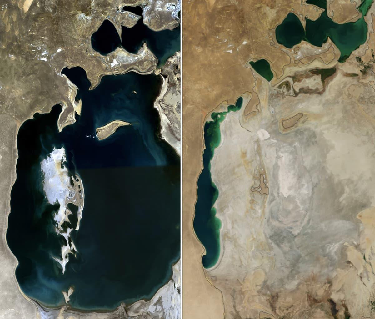 بائیں: بحیرہءِ ارال 1989 میں۔ دائیں: 2014 میں۔ — سیٹلائٹ فوٹو بشکریہ ناسا۔