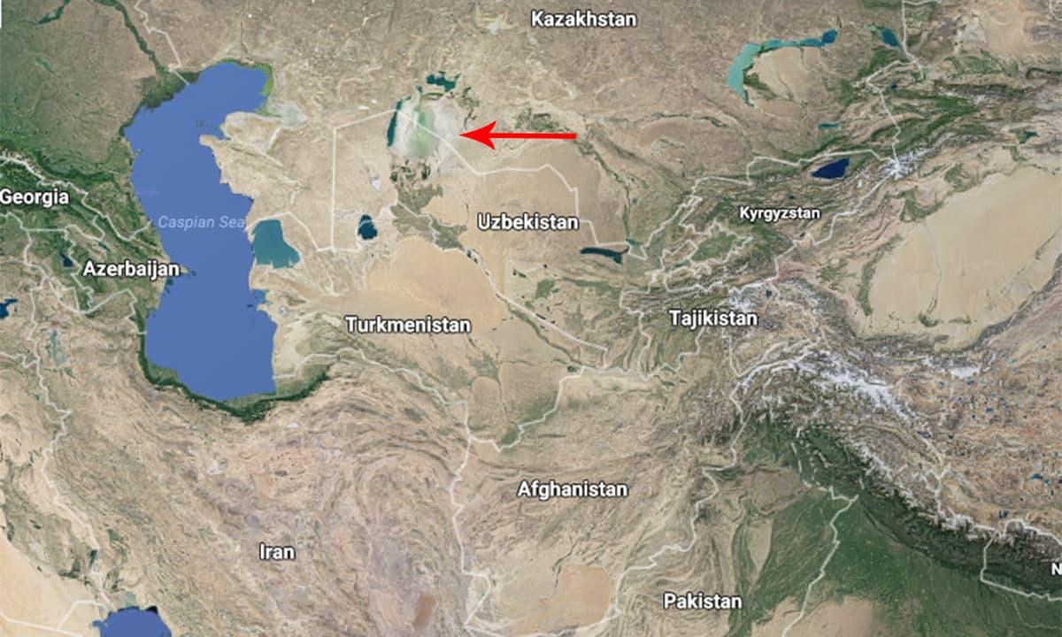 وسطی ایشیاء میں بحیرہءِ ارال کی لوکیشن.— بشکریہ گوگل.