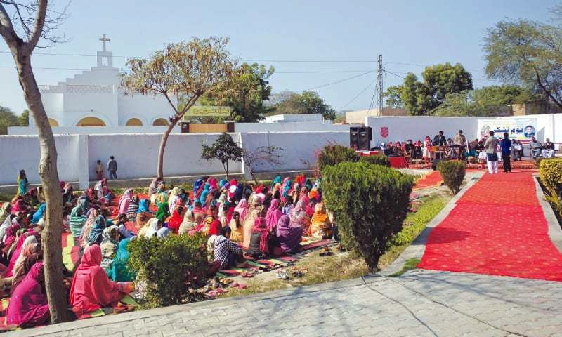 A service being held in Shanti Nagar on Monday.— Photo by writer