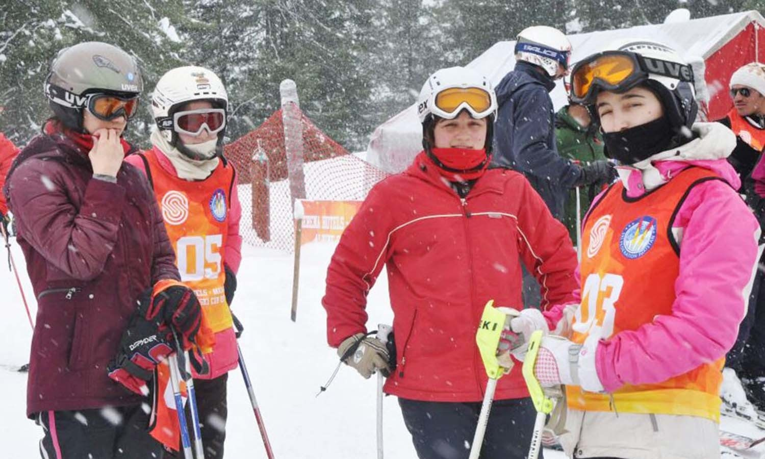 Skiiers get ready to take to the slopes as fresh snow falls. ─ Photo courtesy ISPR