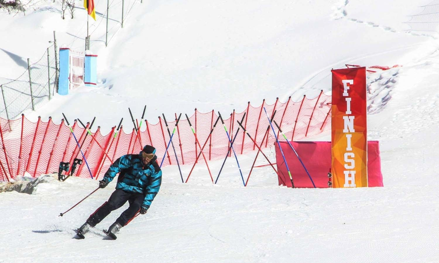 A skier crosses the finish line. ─ Photo by author