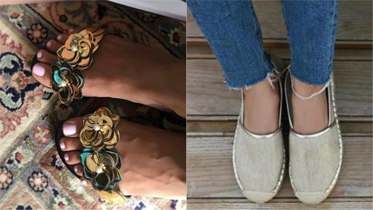 We've got our eyes on these gold floral slides -- perfect to wear with jeans as well as eastern wear (L)