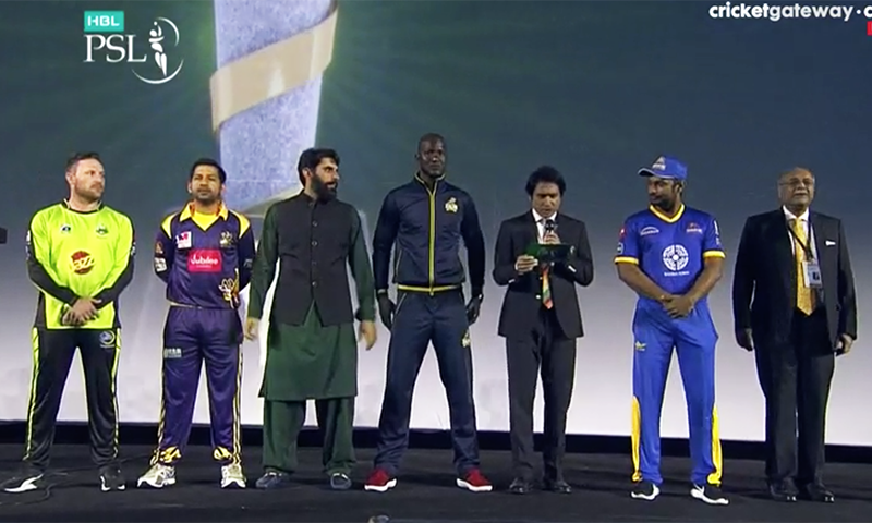 The five captains on stage.