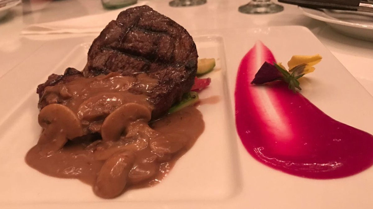 The porcini steak was a decent main course but the beetroot puree didn't add anything to it