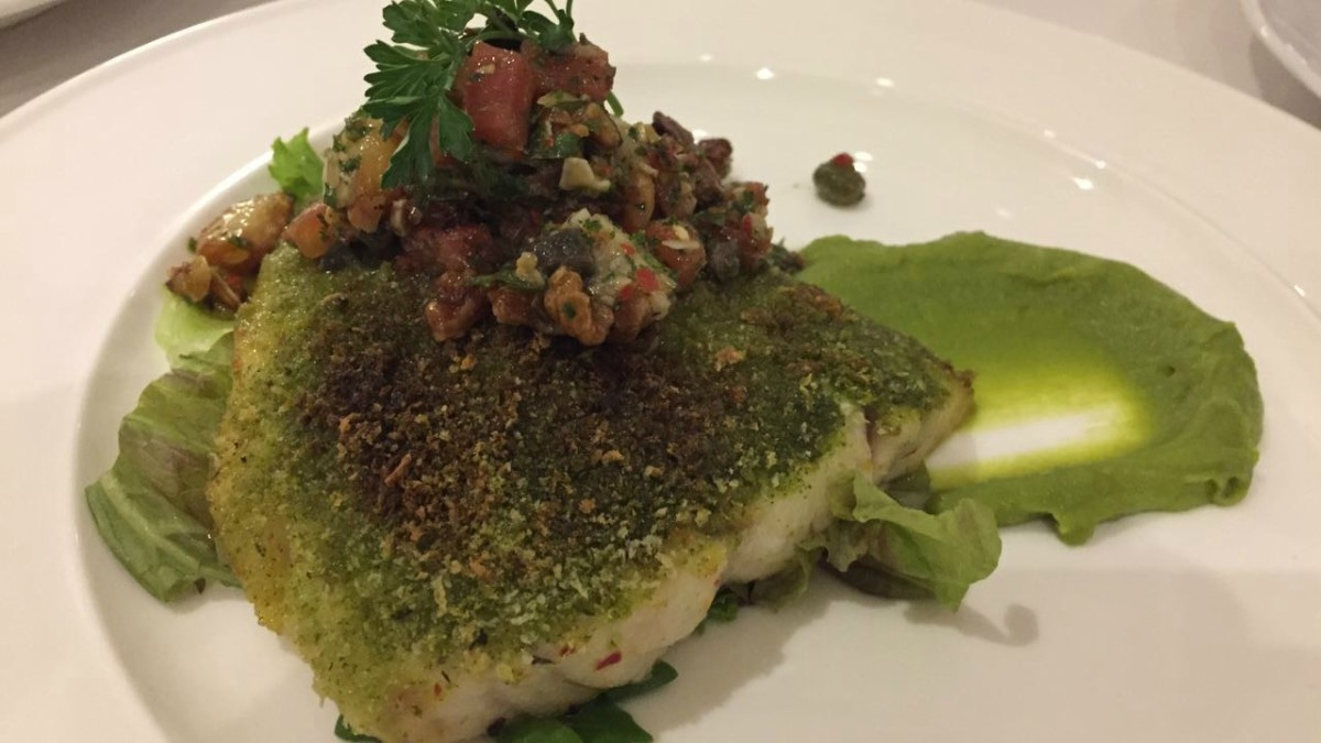 The herb-crusted snapper was a safe and scrumptious main