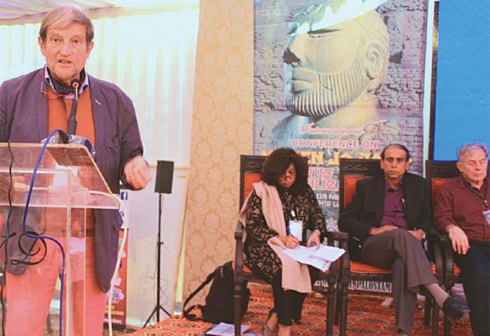 DELIBERATIONS of the 'International Conference on Moenjodaro and Indus Valley Civilisation' under way on the second day at the ancient site on Friday.—Dawn