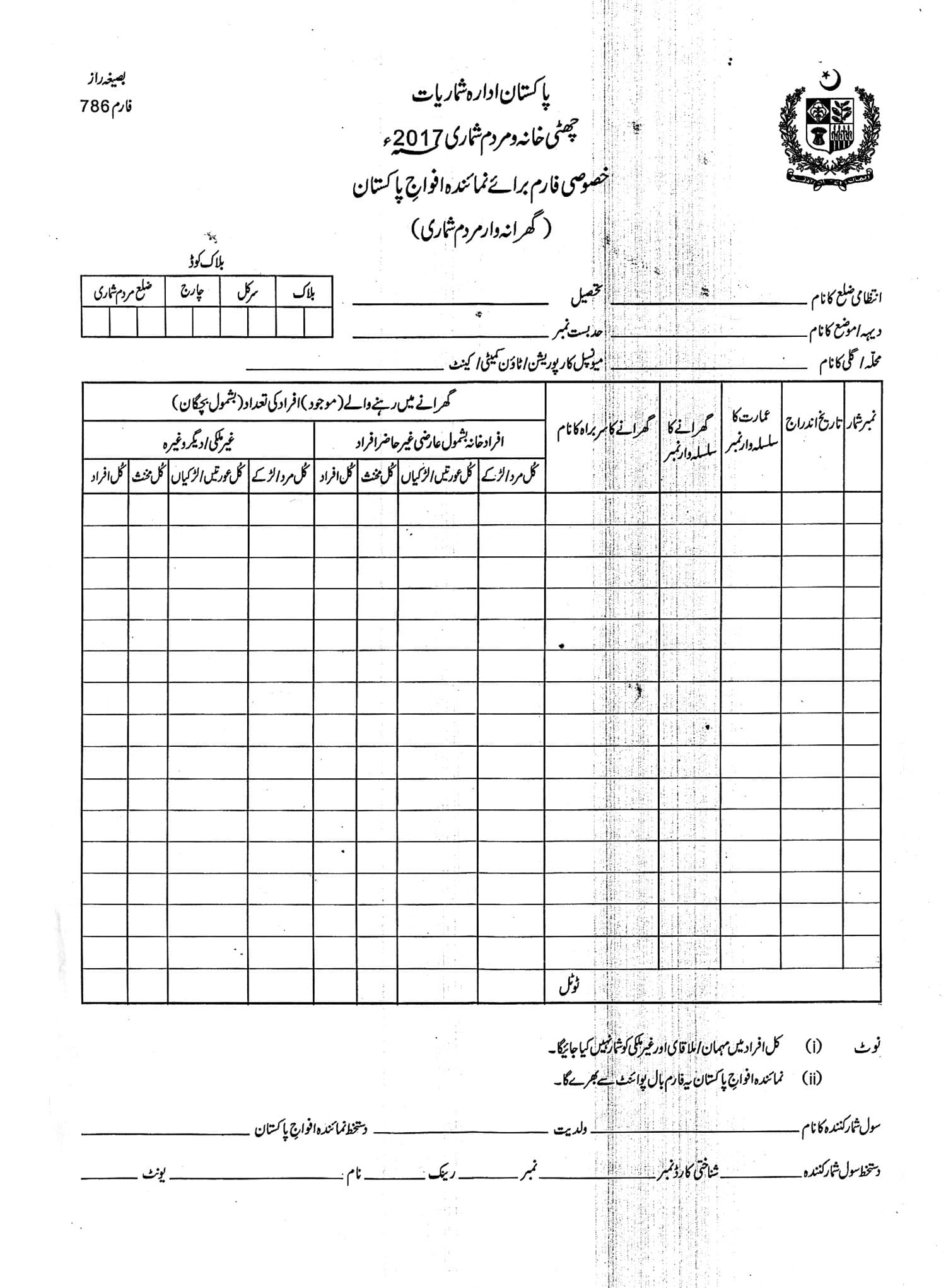 Form to be completed by the army.