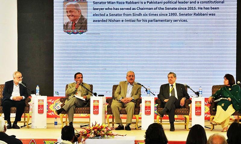 Chairman Senate Senator Mian Raza Rabbani addressing during the Karachi Literature Festival. -Syed Asif Ali