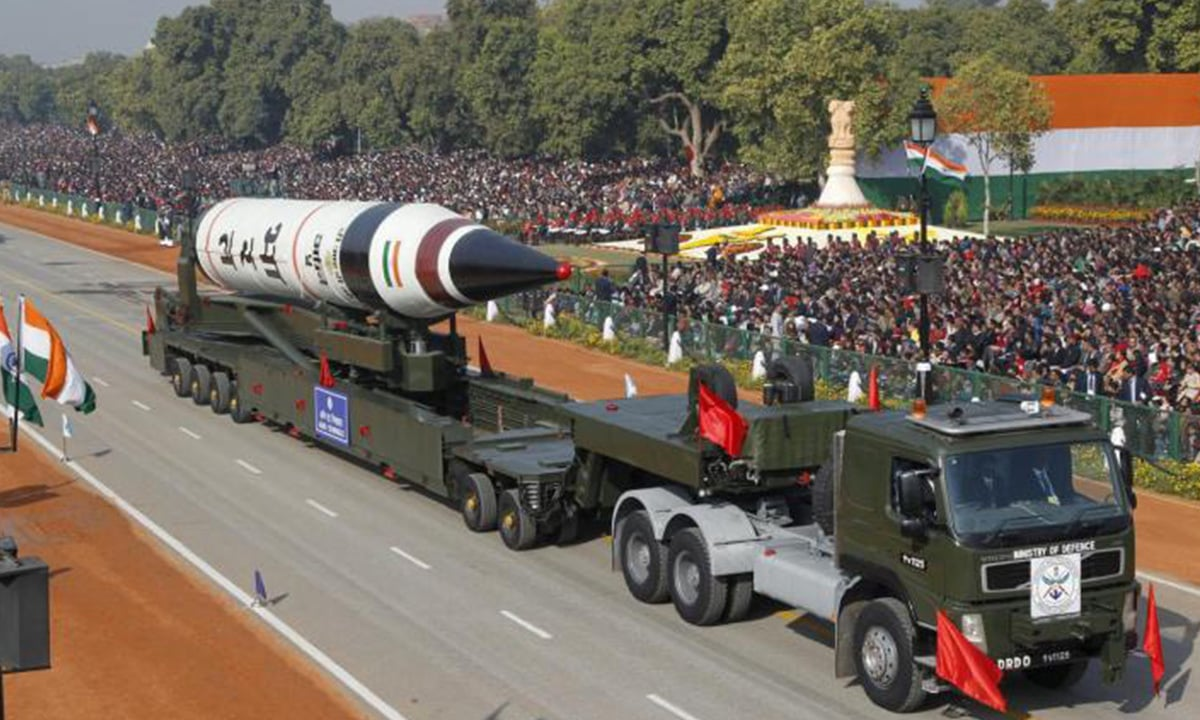 A surface-to-surface Agni V missile is displayed during the Republic Day parade in New Delhi on January 26, 2013 | Reuters