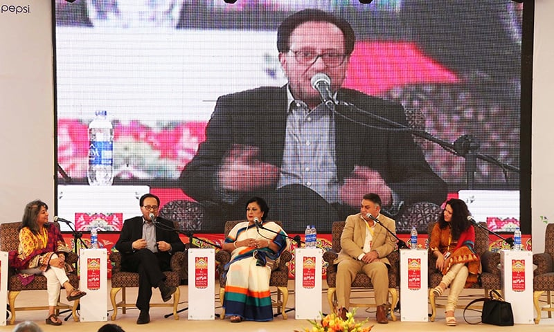 Speakers addressing participants Karachi  Literature Festival. -PPI