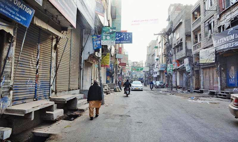 LAHORE: Shops and bazaars in the city remain closed on Tuesday following Monday's suicide bombing on The Mall.—Online