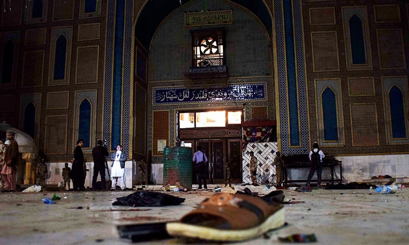 Pakistani soldiers cordon off the shrine of Sufi saint Lal Shahbaz Qalandar after the attack. -AFP