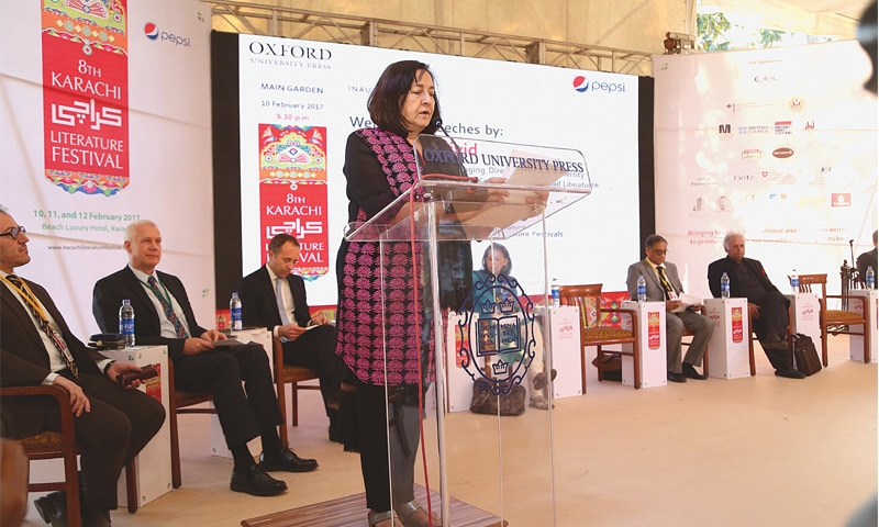 Ameena Saiyid, managing director OUP, speaking at the KLF opening ceremony. — Mediators Pvt Ltd